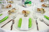 Menu on wedding table — Stock Photo