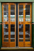 Closed sliding door of classic tram in Milan — ストック写真