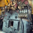 Vintage engine room of a steam train - Stok fotoğraf