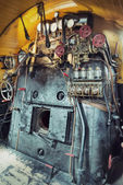 Vintage engine room of a steam train — Stock Photo