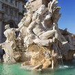 Rome, Piazza Navona, Fountain from Bernini in Italy - Stock Photo