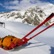 Rescue emergency sled on mountain — Stock Photo