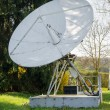 Big white satellite dish - Stock Photo