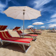 Rimini and Riccione beach. Emilia Romagna, Italy — Stock Photo