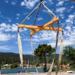 Boat lift crane — Stock Photo