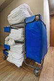 Room service: janitorial cart in the hotel — Stock Photo