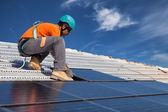 Install solar panels — Stock Photo