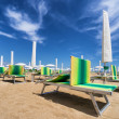 Sunbed on riviera romagnola — Stock Photo