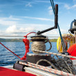 Sailing boat winch with rope — Stock Photo