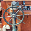 Stock Photo: Helm of wooden boat