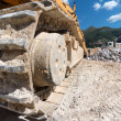 Caterpillar details at a construction site — Stock Photo
