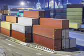 Containers in industrial harbor — Photo
