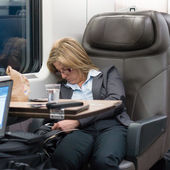 26 march 2014 - commuter sleeping on high speed train — Stock Photo