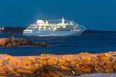 Passengers ship at dawn on the sea — Stock Photo