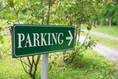 Parking sign in a green park — Stock Photo