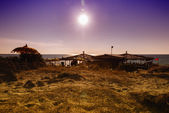Sunset in Gallipoli beach and sea, Apulia, Italy — Stockfoto