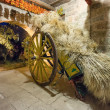 Ancient wooden hay wagon inside old barn — Stock Photo #49835721