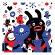 Stock Vector: Party monsters