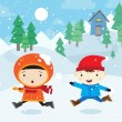Snowball fight — Vector de stock #26047929