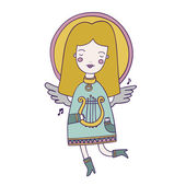 Cute vector angel is playing harp — Vector de stock