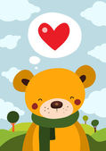 Cute Teddy Bear with red love heart — Vector de stock