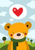 Söt nalle med röd kärlek hjärta — Stockvektor