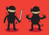 2 cute ninjas standing on red background — Stock Vector