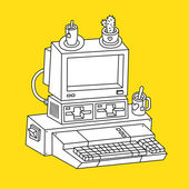 Contour illustration of old computer on yellow background — Stock Vector