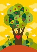 Sevgililer günü kartı ile bir ağaç üzerinde şirin kuş — Stok Vektör