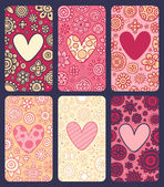 6 cute Valentine's day cards — Stock Vector