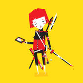 Beautiful red girl with weapons and mirror on yellow background — Stock Vector