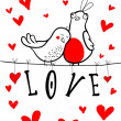 Doodle birds couple among hearts. — Vector de stock