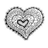 Doodle corazón con textura. — Vector de stock