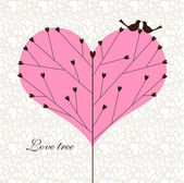 Love tree with a couple of birds. — Stockvector