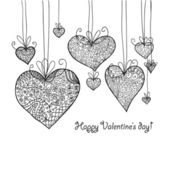 Doodle textured hearts-baubles background. — Vecteur