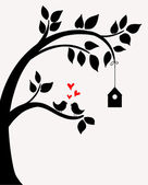 Doodle tree with birds in love and nesting box. — Vettoriale Stock