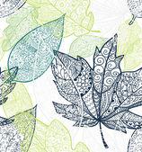 Doodle texturerat lämnar seamless mönster. — Stockvektor