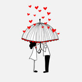 Doodle lovers: a boy and a girl under umbrella. — Stock Vector