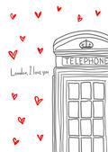 London, I love you. Hand drawn pay phone among hearts. — Stock Vector