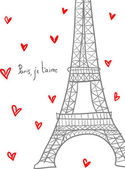 Paris, I love you. Hand drawn Eiffel among hearts. — Stock Vector