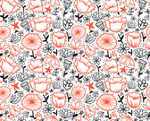 Doodle outline flowers seamless pattern. — Stock Vector