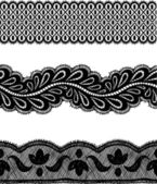 Black seamless lace lines set. — Stock Vector