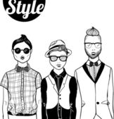"Three doodle fashion ""hipster"" men — Stock Vector"