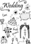 Doodle wedding elements. — Stock Vector