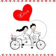 Doodle lovers: a boy and a girl riding tandem bicycle. — Stock Vector