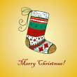 Stock Vector: Doodle textured Christmas sock.