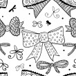 Doodle textured bows seamless pattern. — Stock Vector