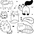 Stock Vector: Doodle cute cats background.