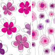 Seamless doodle floral pattern set. — Stock Vector