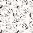 Doodle hand drawn girls' shoes and handbags seamless pattern. — ストックベクタ #31959969
